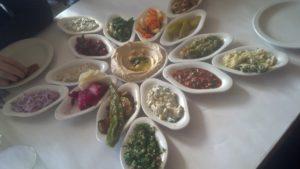 Spectacular Array of Salads at Tel Aviv Restaurant