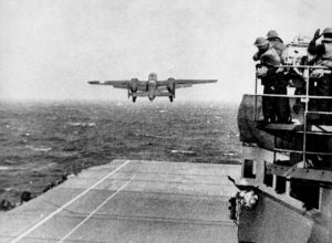 B25 launches from USS Hornet for the Doolittle Raid